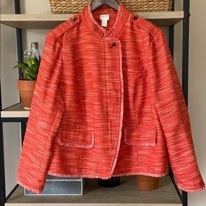 Chico's Textured Orange Fringe Lined Blazer XL